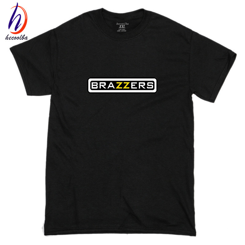 Euro Size, 100% Cotton, Men Hipster Brazzers Print Tshirt Men Funny Cotton Swag T-shirt Women Brand-Clothing Poleras Hombre, GT409