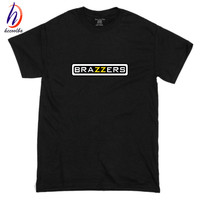 Euro Size 100 Cotton Men Hipster Brazzers Print Tshirt Men Funny Cotton Swag T Shirt Women