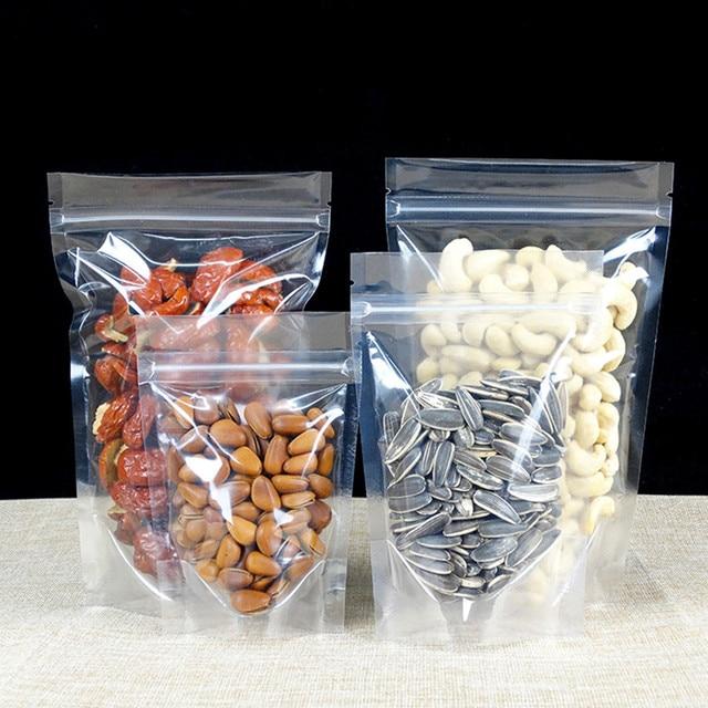 200 шт./лот Пластик стоячий, на молнии Топ матовый прозрачный/прозрачный Еда сумка для хранения пакет со струнным замком дой-Пак посылка мешки мешок с застежкой-молнией