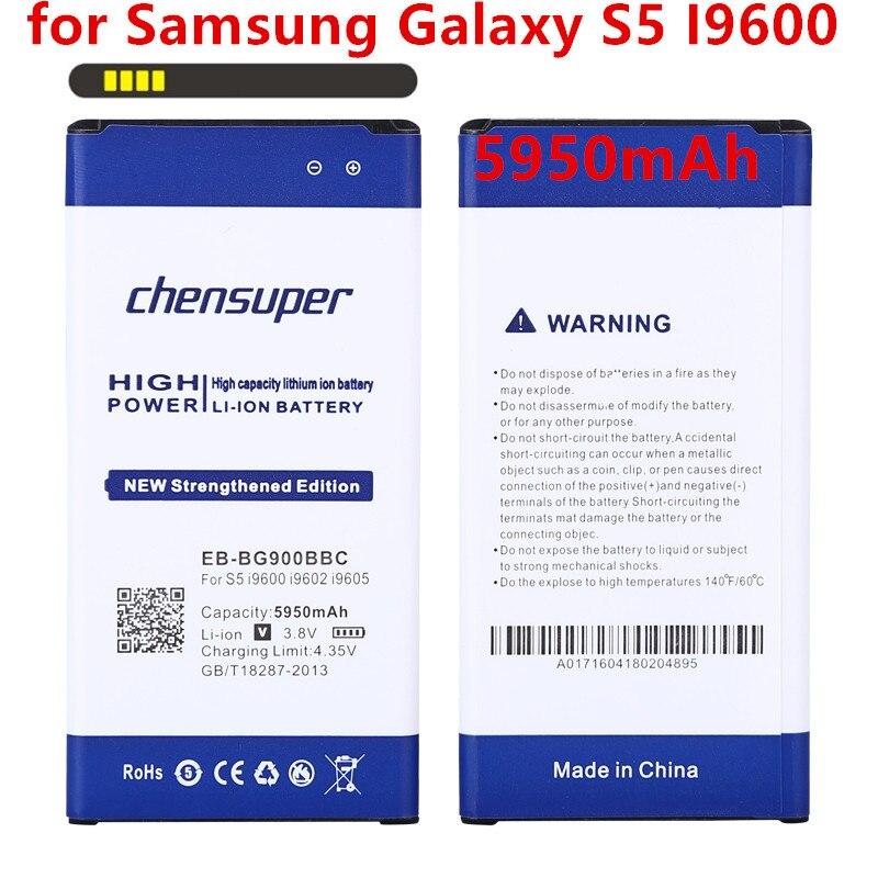 Chensuper 5950 mAh EB-BG900BBC Batterie Pour Samsung Galaxy S5 Batterie I9600 I9602 I9605 G900F G900T G9008 G9009D G9006W G900