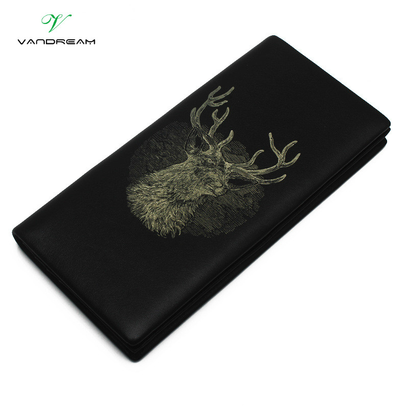 Top Quality Unisex Cowhide Genuine Leather Both Women & Men Wallets Fashion Splice Dollar Purse Black Deer Purse Wallet Gift top quality 2 mm machine stitched kendo bogu aizome deer leather men do kote tare free shipping