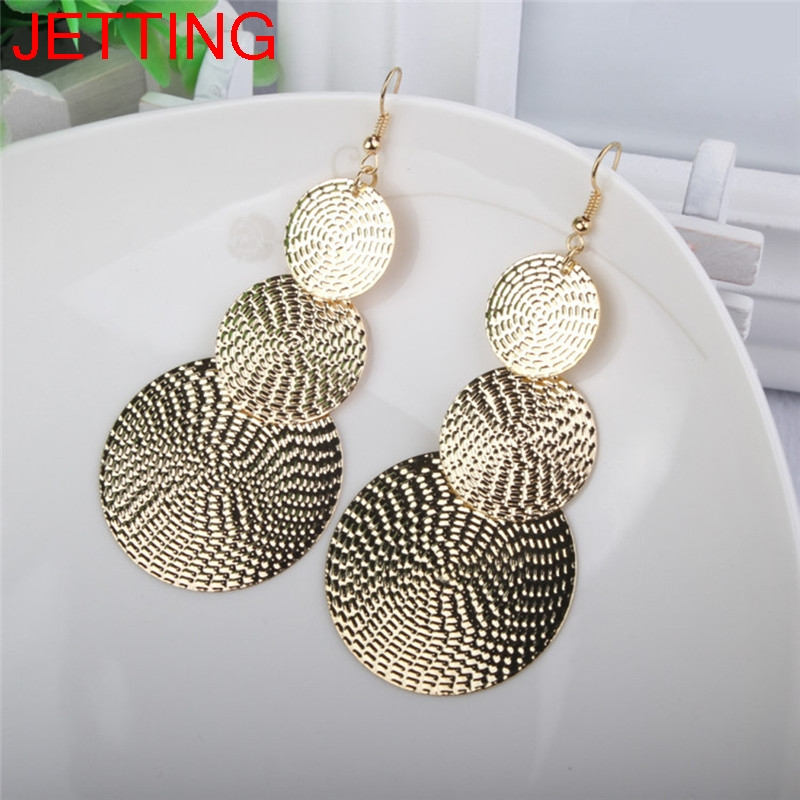 JETTING 1 Pair Women Three layer Round Link Earrings For Women Fashion Beautiful Ear Jewelry Gift