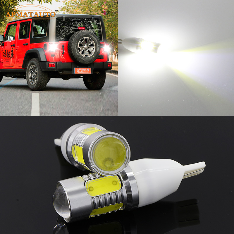 2 x T15 W16W 912 921  White  Plasma LED Projector Blub Tail Backup Reverse Rear Lights For Jeep Grand Cherokee Wrangler Liberty 2 x error free super bright white led bulbs for backup reverse light 921 912 t15 w16w for peugeot 408