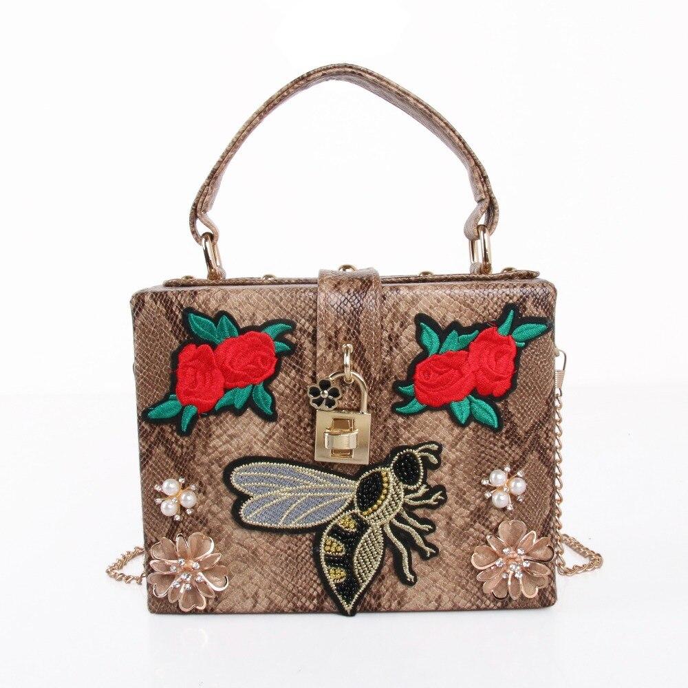 PU broderie rouge Rose fleur perlée mode femmes épaule sacs à main Messenger bandoulière sacs soirée fourre-tout sac boîte pochette
