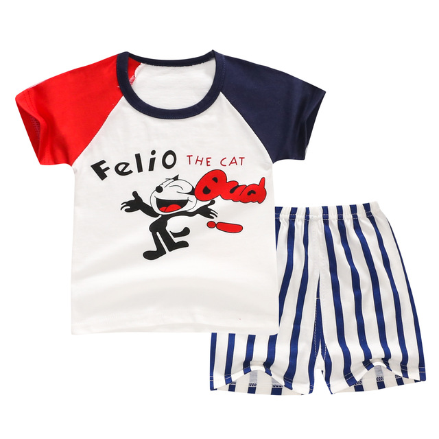 4e9876c6b Summer Boys Brand Cartoon Print T Shirts Sets Baby Boy Girl Clothes ...