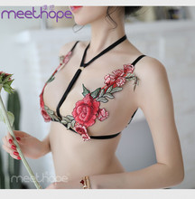 Nightclub embroidery rose hanging neck bra T-shirt open file sexy underwear three-point suit