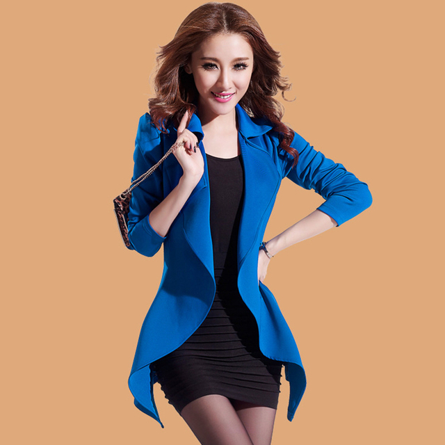 3 Colors Feminino Women Long Slim Blazers and Jackets Full Sleeve Coats Turn-down Collar Outerwear 2016 New Fashion ZP638