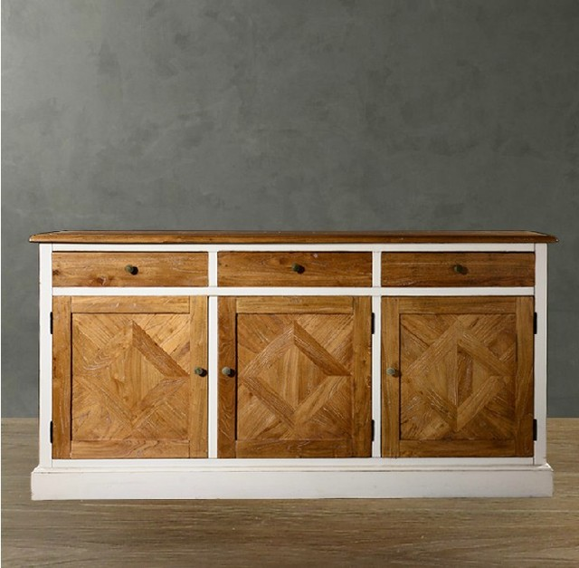 Western Style Rustic Wood Storage Cabinet Elm Cupboard Sideboard
