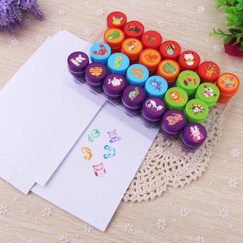 26Pcs Children Kids Cute Cartoon Animal Stamp DIY Plastic Rubber Self Inking Stampers Toy for Scrapbooking Kids Party Favor Gift