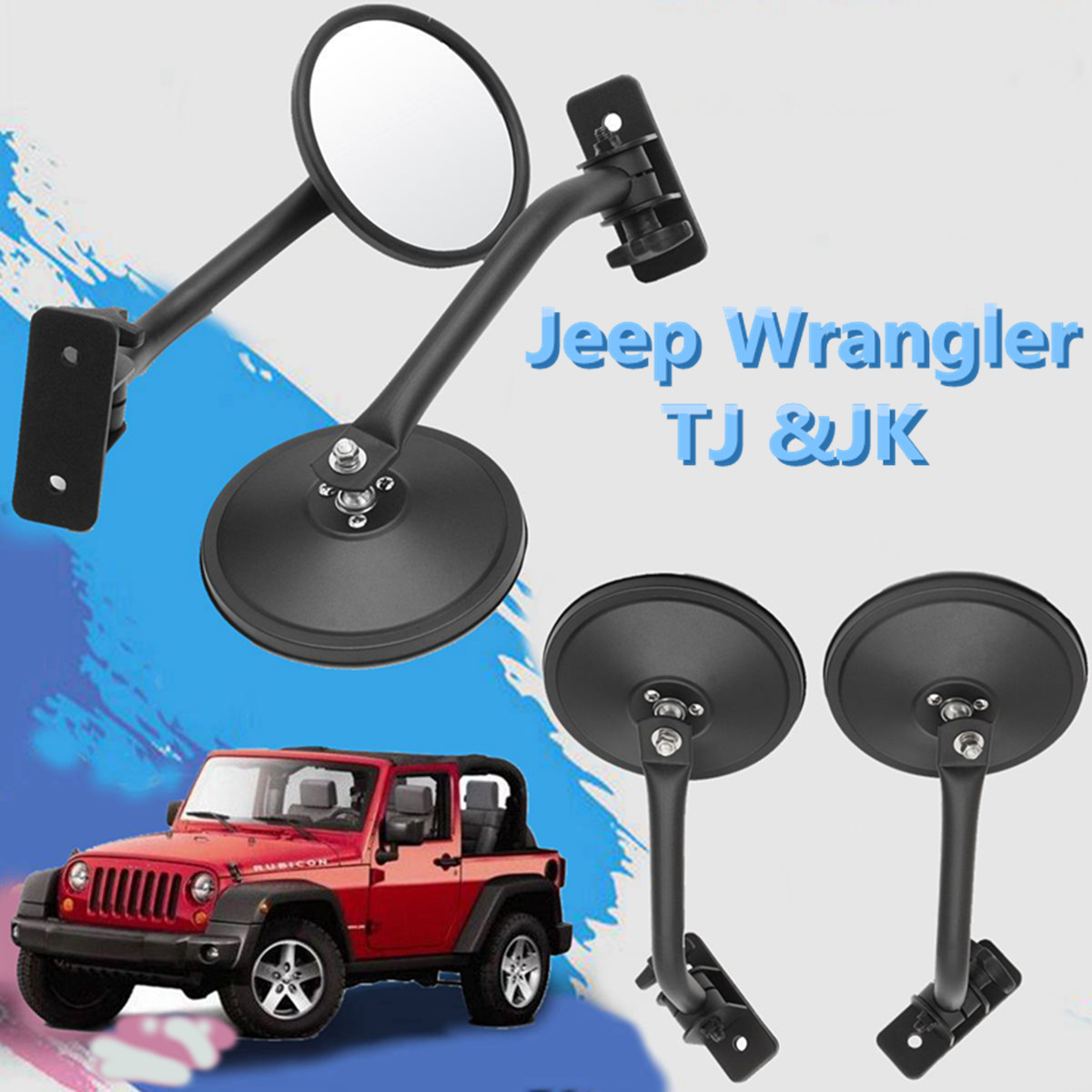 Pair Car Rear View Mirror Side Rearview Mirrors For Jeep for Wrangler TJ&JK 1997-2015 Quick ReleasePair Car Rear View Mirror Side Rearview Mirrors For Jeep for Wrangler TJ&JK 1997-2015 Quick Release