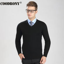 Free Shipping Autumn Winter Knitted Warm Sweater Men 100% Real Cashmere Sweaters Merino Wool Pullover Men V-Neck Pull Homme 6316