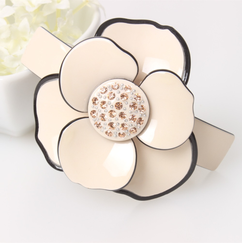 Buena High quality Classical camellia Accessories Acrylic Rhinestone Hair Barrette  hair clips for women with flowers AS5077