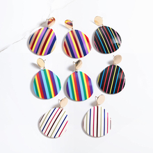 Multicolor Striped Earrings For Women Bohemian Round Big Acetate Acrylic Jewelry Fashion Earing Accessories