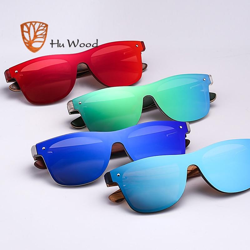 HU WOOD Brand Vintage Style Sunglasses Men Flat Lens Rimless Square ...