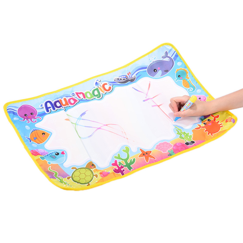 New 59x36cm Multicolor Rainbow Water Drawing Mat with 2 Pen Aqua Doodle Mat Rug For Painting Xmas Gift Kids Toys