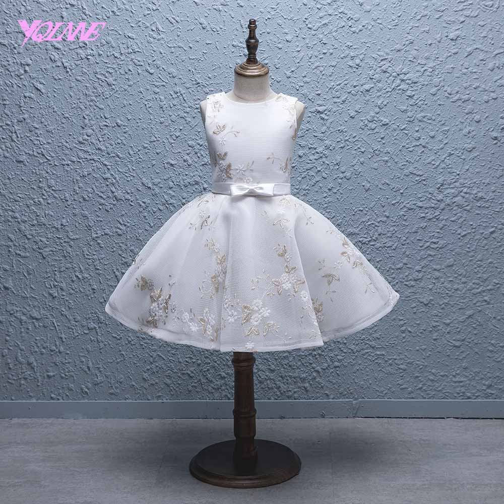 YQLNNE Ivory Embroidery   Flower     Girl     Dresses   Ball Gown Communion Party   Dress   Vestido Daminha