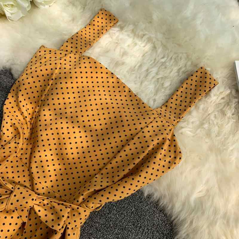 2019 موضة جديدة فساتين حريمي البولكا نقطة الصيف الطازجة عالية الخصر فستان من الشيفون كبير سوينغ طالب عطلة اللباس