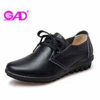 GAD Genuine Leather Flat Shoes Women 2017 Hot Sale Round Toe Lace Up Women Leather Casual