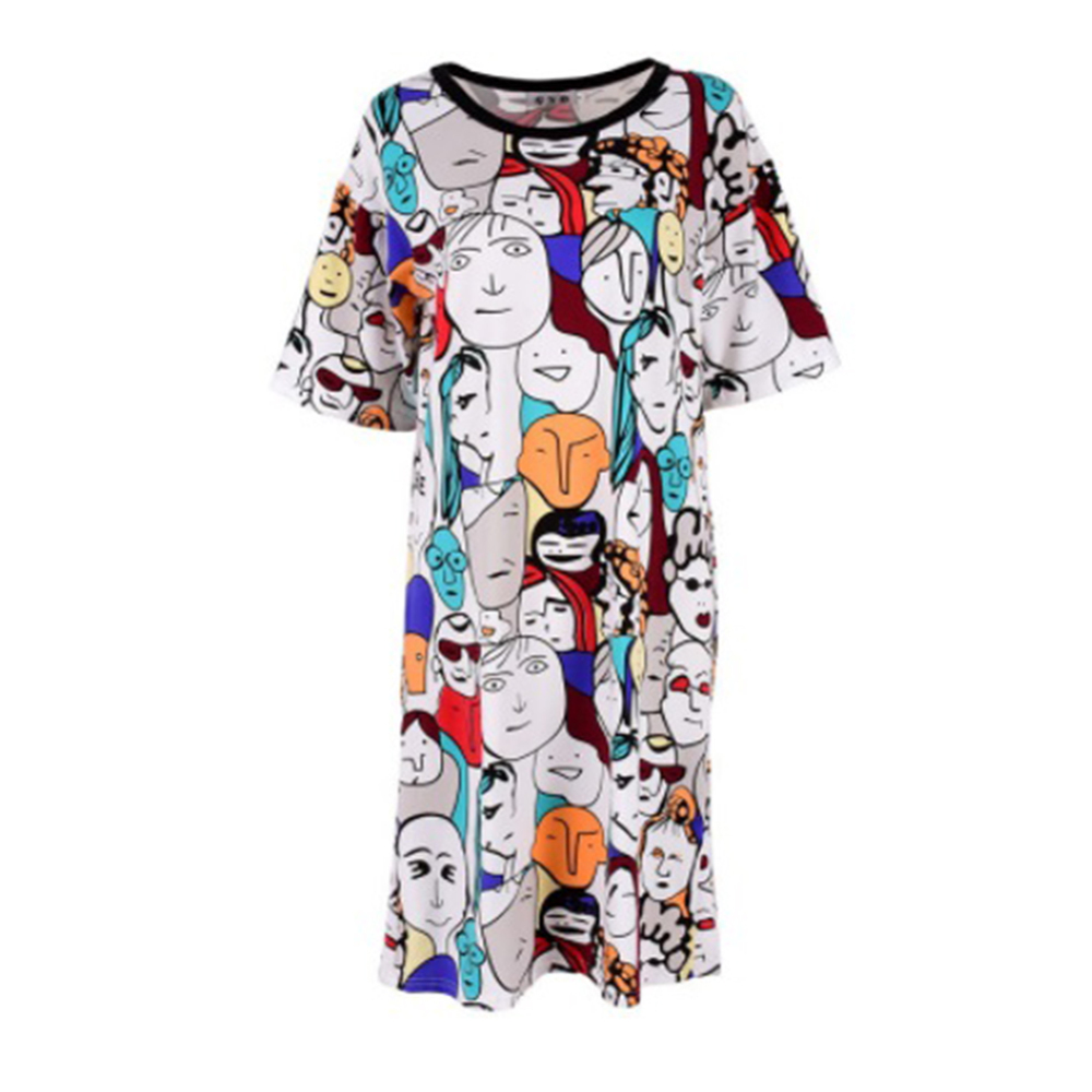 2019 Women Casual Loose Boho 3/4 Sleeve T-shirt Dress Graffiti Print Evening Party Club Female Long T-shirt Dress Home Service