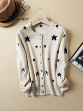 LOVELYDONKEYNew knitted sweater Cashmere cardigan girls cashmere sweater with Stars coat Wholesale value free transport M159