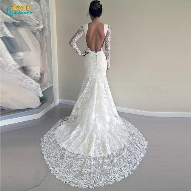 Vestido de novia 2016 Elegant Bride Gown Vintage Lace Mermaid Long backless Wedding Dress Long Sleeves Open Back Robe De Mariage