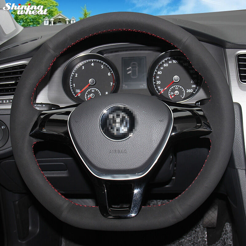 Shining Wheat Hand Stitched Black Suede Steering Wheel Cover For Volkswagen  VW Golf 7 Mk7 New Polo Jetta Passat B8