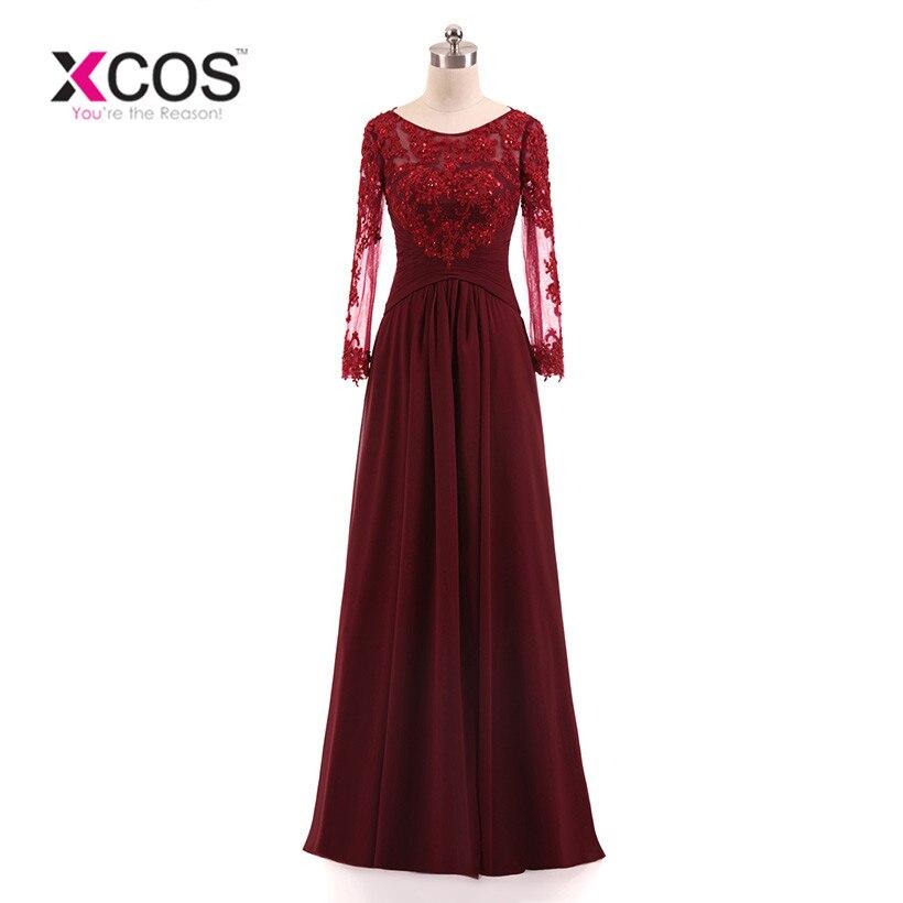 Bourgogne grande taille 2018 mère de la mariée robes a-ligne perles en mousseline de soie dentelle robe de mariée mère robes pour mariage