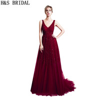 H&S BRIDAL Burgundy prom dresses long elegant heavy beaded sexy gowns evening vestidos woman prom party dresses