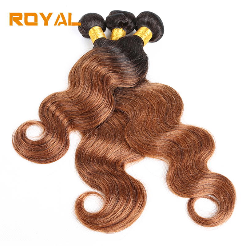 Pre-Colored Brazilian 100% Human Hair 4 Bundles 1B/30 Body Wave Ombre Non Remy Extention Royal Weft Hair