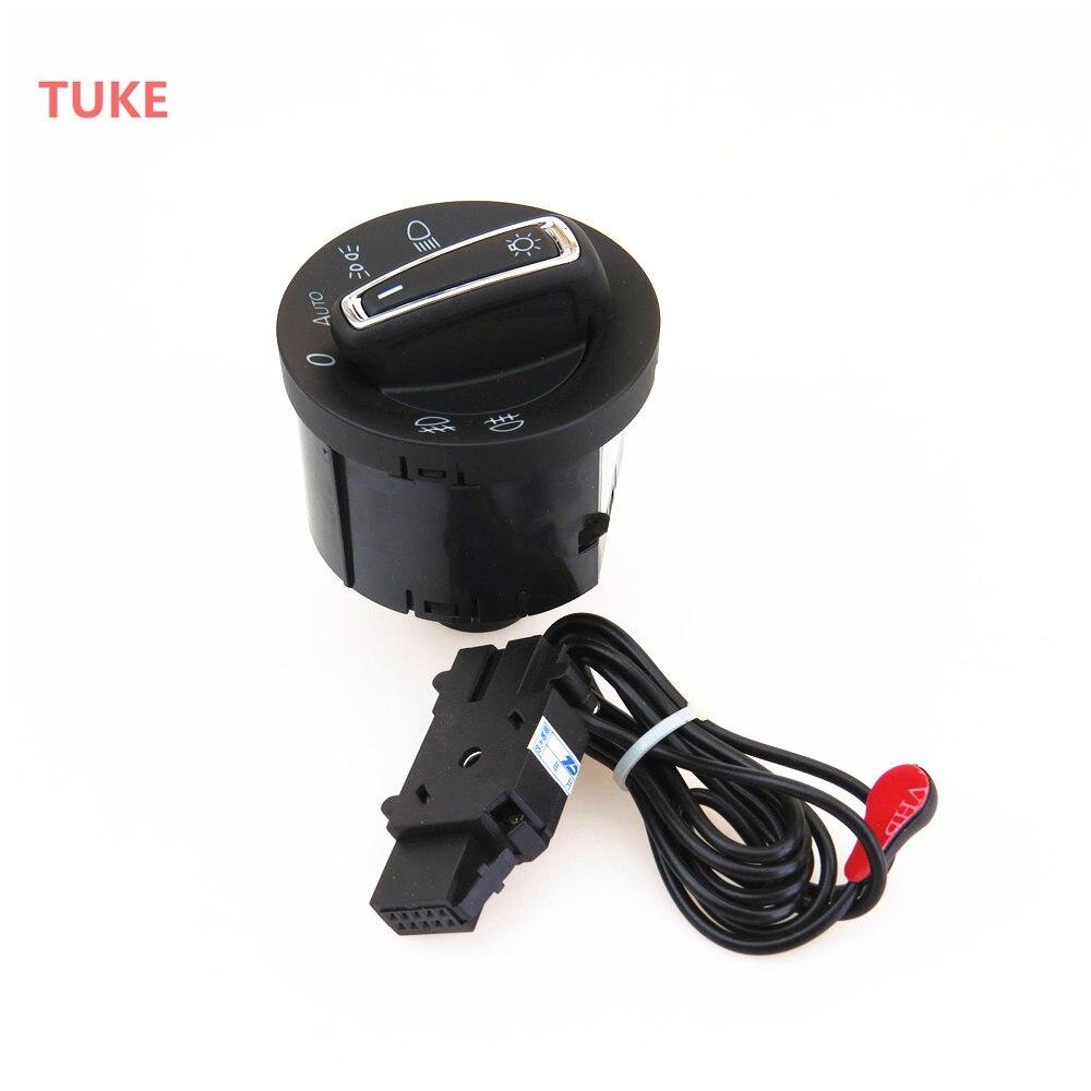 TUKE 1Set Chrome Plating Automatic Control Headlight Light Switch + Sensor For 2013-2015 VW Golf MK7 5GG 941 431 D 5GG941431D