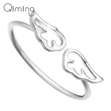 Silver Gold Angel Wings Ring Adjustable Feather Ring Women Fashion Charming Wedding Finger Open Ring Statement Jewelry Bague(China)
