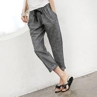 2019 Summer New Women Fashion High Waist Casual Ankle Length Pants Pure Color Thin Cotton Linen Harem Pants Plus Size S 5XL