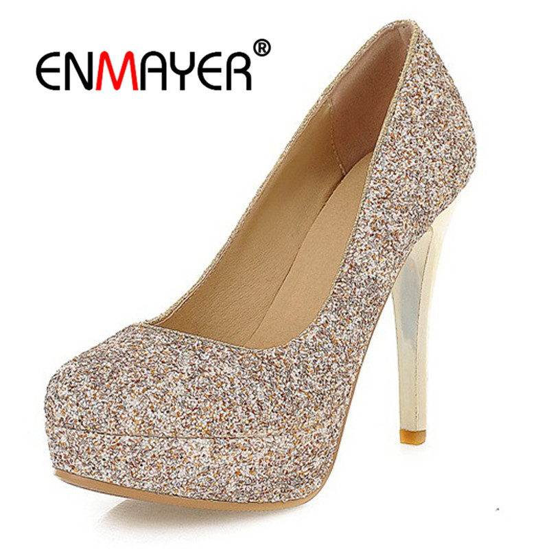 ENMAYER Women Pumps Super High Heels Round Toe Summer Causal Glitter Fashion Shoes Thin heel Sequined Cloth Platform shoes CR630