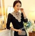 2015 Высокая Шея Крючком Блузка Кружева Люкс Sheer Викторианской Рубашка Топы Для Женщин Clothing Vestidos Blusas Femininas Блузки