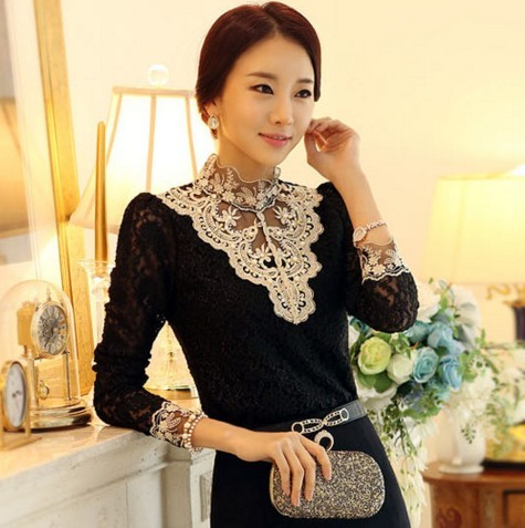 2015 High Neck Crochet Blouse Lace Luxury Sheer Victorian Shirt Tops For Women Clothing Vestidos Blusas Femininas Blouses