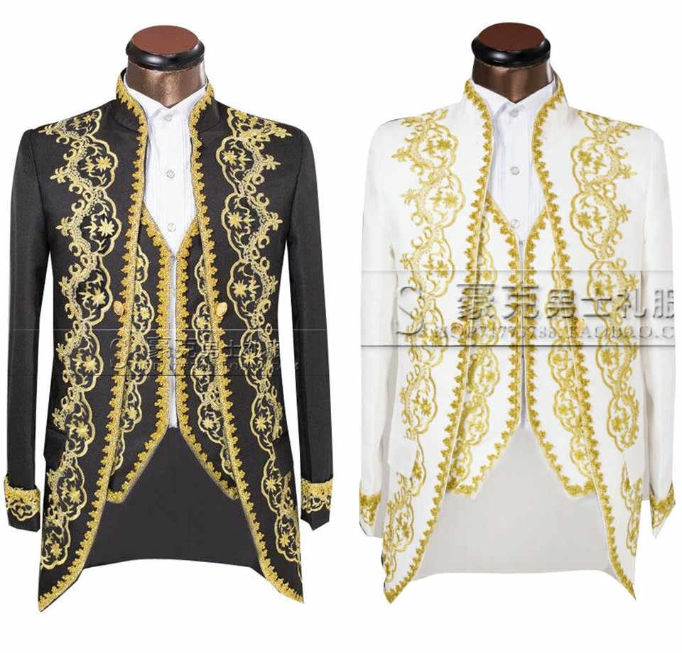 ( Jacket + pants + vest )Gold 2020 Fashion Men suits Slim Fit Tailcoat Groom wedding Prom Dress Suit Embroidered Male For Tuxedo