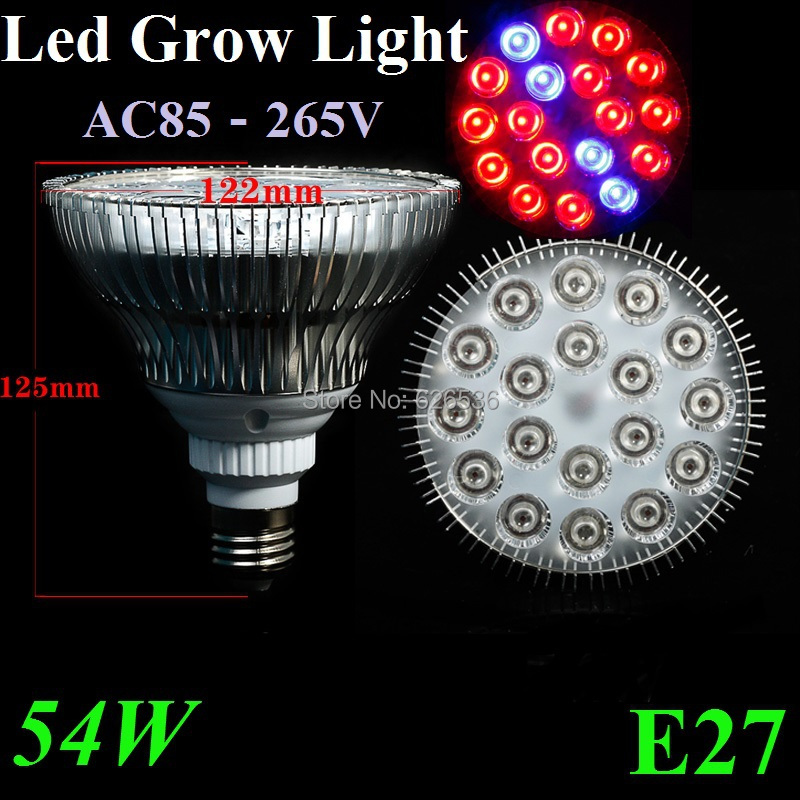 Flowers E27 54W Growing 85-265V Derlights Grow Vegatables Hydroponic LED Greens Plant Lamp 14RED&4BLUE Lights 1