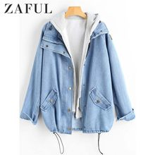 ZAFUL Knoppen Denim Jacket Vrouwen Jas Herfst Single Breasted Pockets Jassen Jassen Twee Stukken Womens Uitloper 2018 Dames Tops(China)