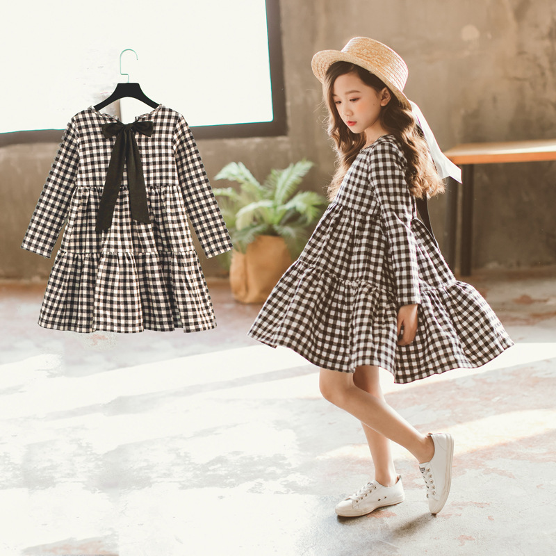 Girls Dress 2018 New Children's Autumn Dress Kids Plaid Dress Bow Brand Baby Girls' Cotton Dress Toddler Clothes,#2787 self tie back plaid dress