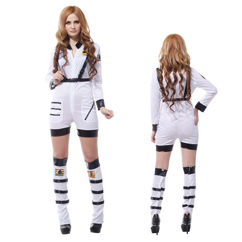 38bd7a98d ... Sexy Astronaut Costume Adult White / Orange Space Suit Theatrical  Womens Halloween Fancy Dress ...