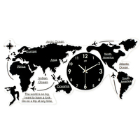 home decoration nordic minimalist wall clock acrylic creative abstract world map clock living room large size mute wall clock