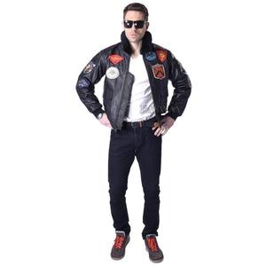 Image 4 - MAPLESTEED Mens Genuine Leather Jacket Men Cowhide Top Gun Flight Jacket Pilot Bomber Motorcycle Jacket Motor Biker Coat 142