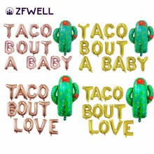 "ZFWELL 14pcs/lot Golden Silver Cactus Letter ""TACO BOUT A BABY"" Aluminum Balloon Balloon Mexican Carnival Party Decoration75"