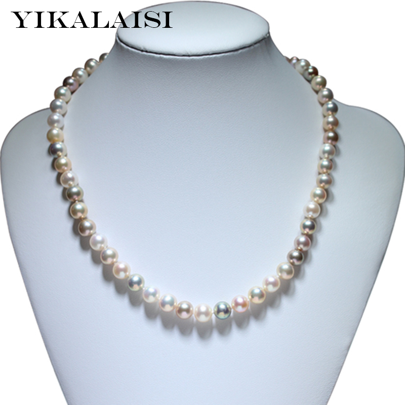YIKALAISI 2017 fine brand Natural Freshwater Pearl choker Necklace jewelry 925 sterling Silver jewelry For Women wedding gift 2 3mm red natural agate necklace multi layers 925 sterling silver with real pearl fine womne jewelry wedding party necklace