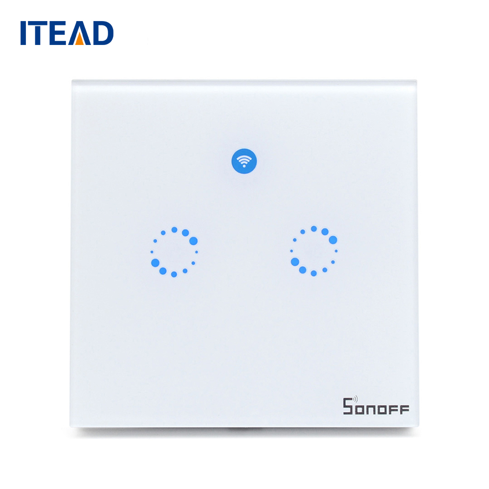 Sonoff T1 EU Remote Control Light Switch Wall Panel 1/2 Gang Wireless Smart Touch ON/OFF Plate Work With Alexa/Nest smart home ewelink us type 2 gang wall light smart switch touch control panel wifi remote control via smart phone work with alexa ewelink