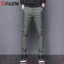 Drizzte Mens Stretch Pants Korean Casual Slacks Slim Dress Pants for men Black Navy Green