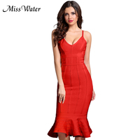 Miss Water Newest Lovely Bandage Dress Women Celebrity Party Sexy Night Out Strapless Solid Dress Women Bodycon Vestidos Wholes