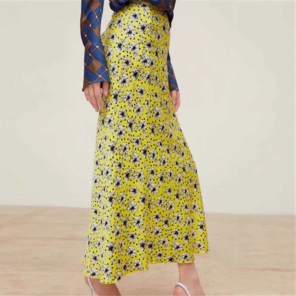 Summer women's skirt print ruffled high waist floral Europe and America retro yellow skirt casual beach skirt jupe femme 40*