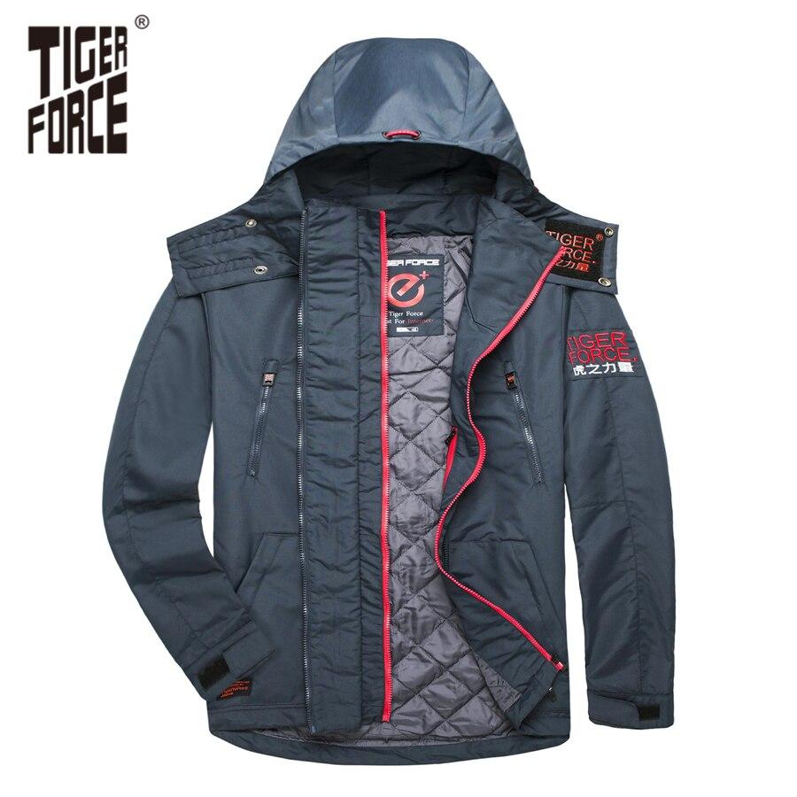 TIGER FORCE 0 degrés Hommes Vestes Printemps Coton Rembourré Vestes À Capuchon Veste Manteau Imperméable Coupe-Vent Hommes de Survêtement