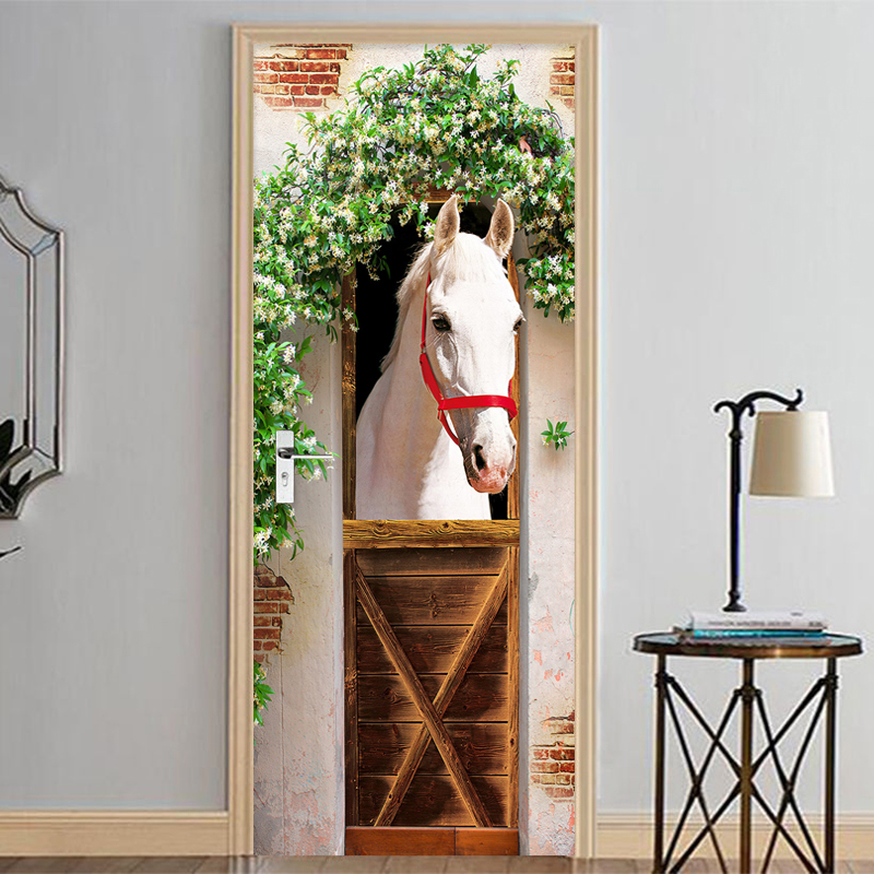Photo Wallpaper 3D Stereo White Horse Mural Door Sticker DIY Home Decor PVC Self Adhesive Waterproof Living Room Bedroom Sticker